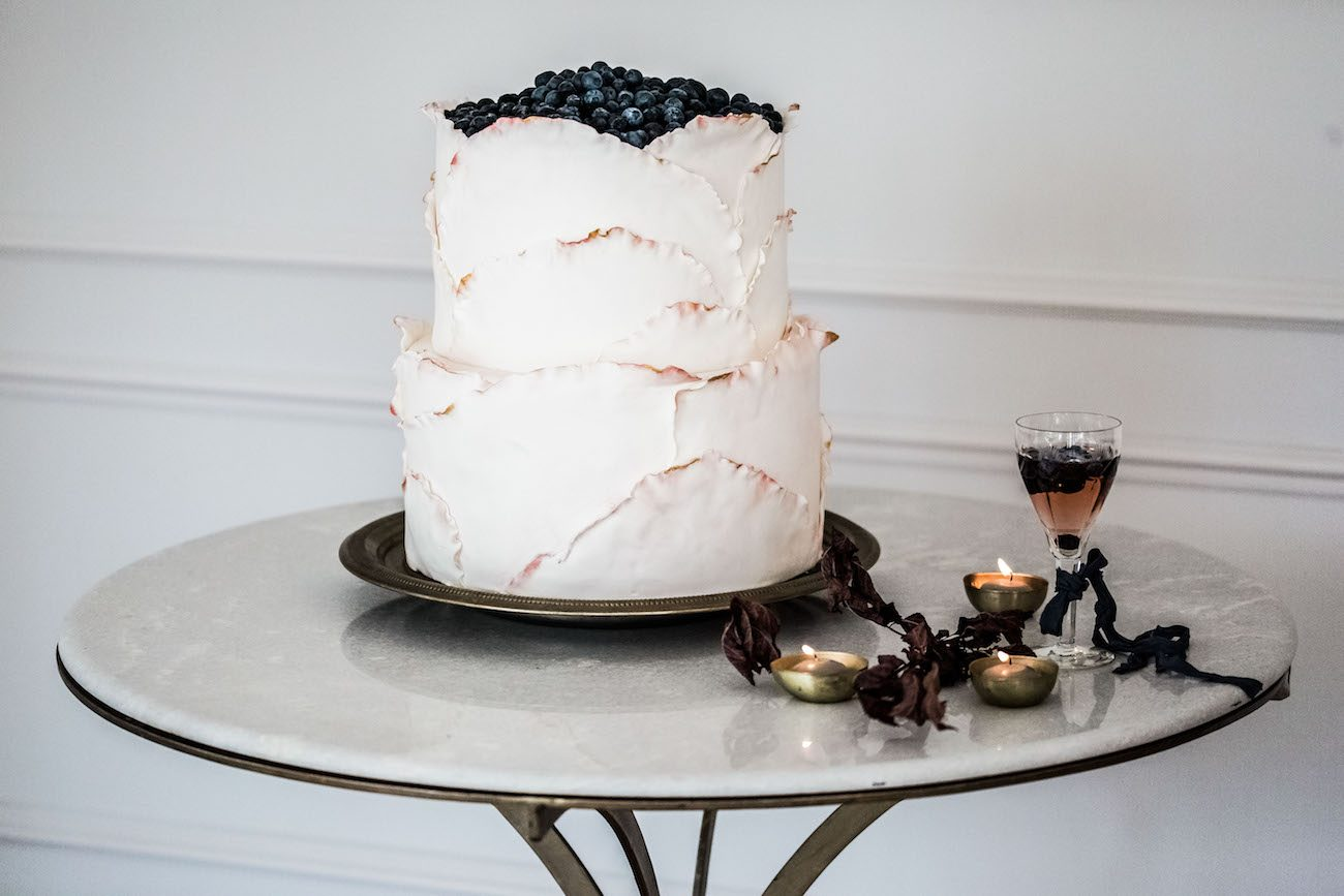 Fine Art Black Tie Wedding Inspiration Shoot calligraphy wedding cake with candles