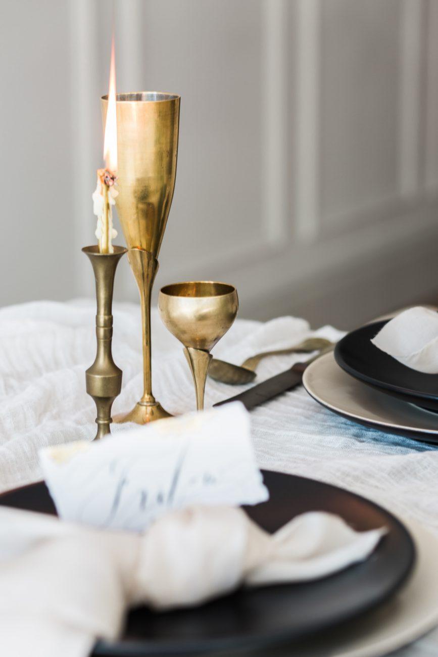 Fine Art Black Tie Wedding Inspiration Shoot candles burning