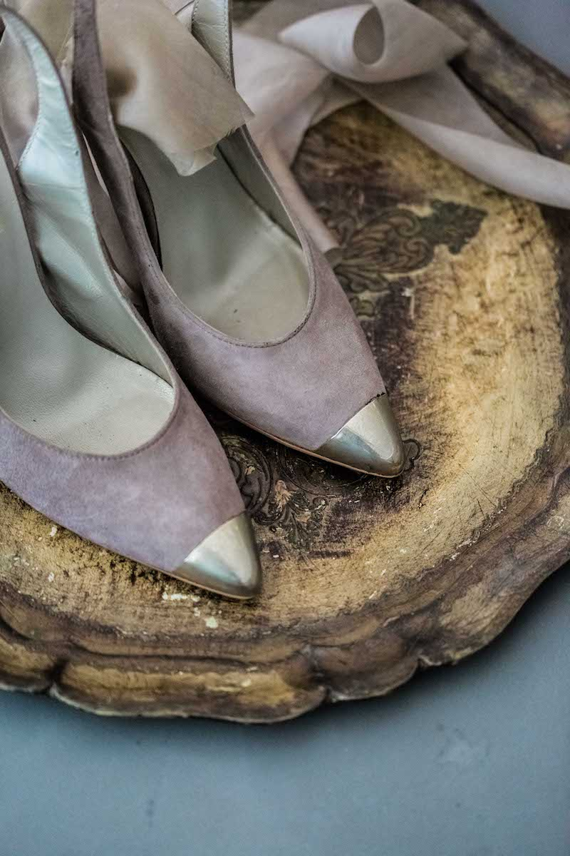 Fine Art Black Tie Wedding Inspiration Shoot pink suede shoes