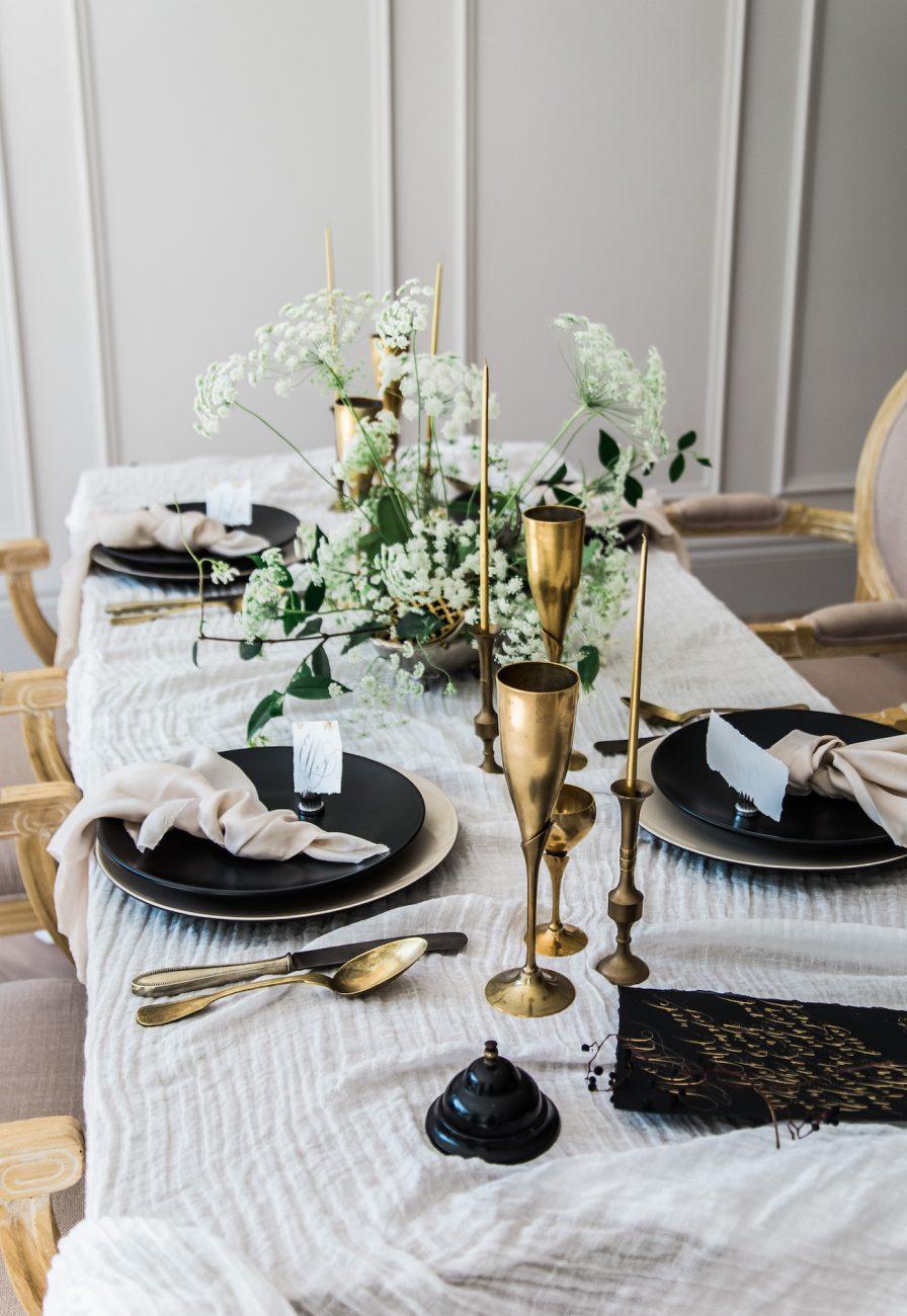 Fine Art Black Tie Wedding Inspiration Shoot table scape copy