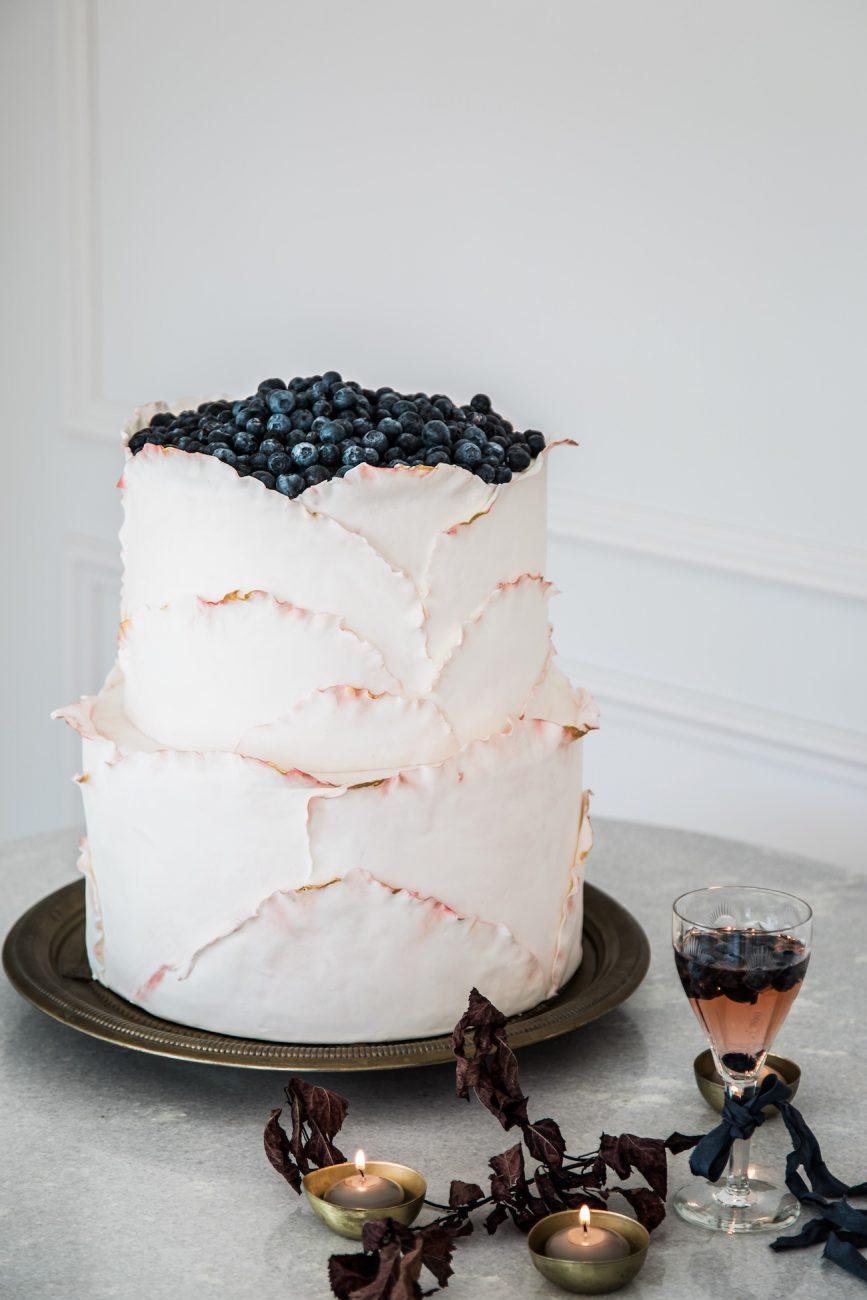Fine Art Black Tie Wedding Inspiration Shoot wedding cake with berries