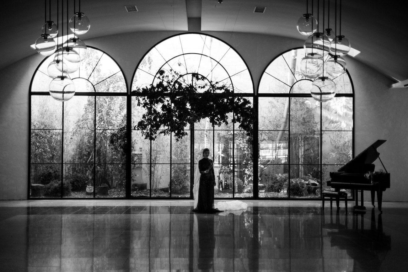 Fine Art Black Tie Wedding Inspiration Shoot wedding venue in Portugal with large glass windows