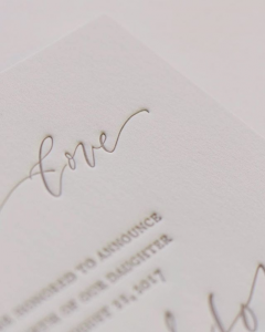 Invitation Glossary letterpress