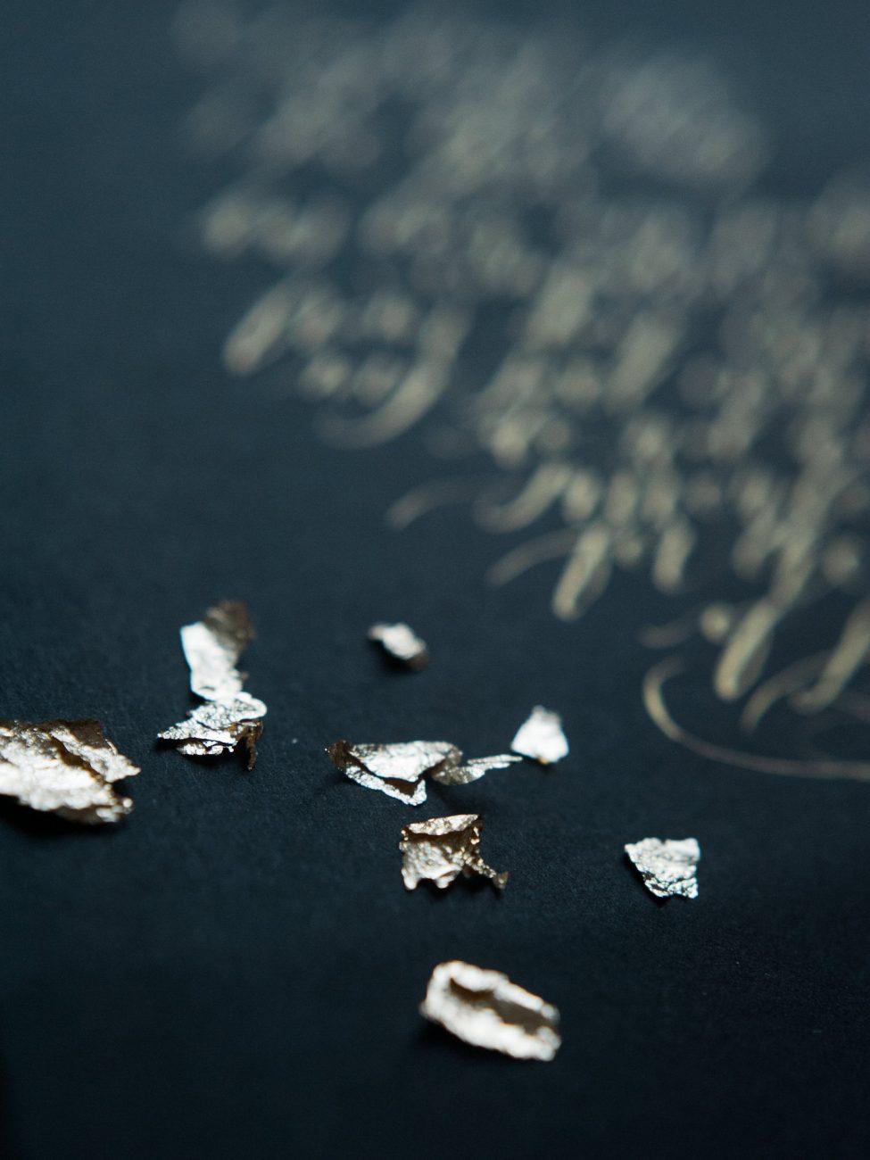 Desert fine art wedding inspiration gold Arabic calligraphy art with gold foil