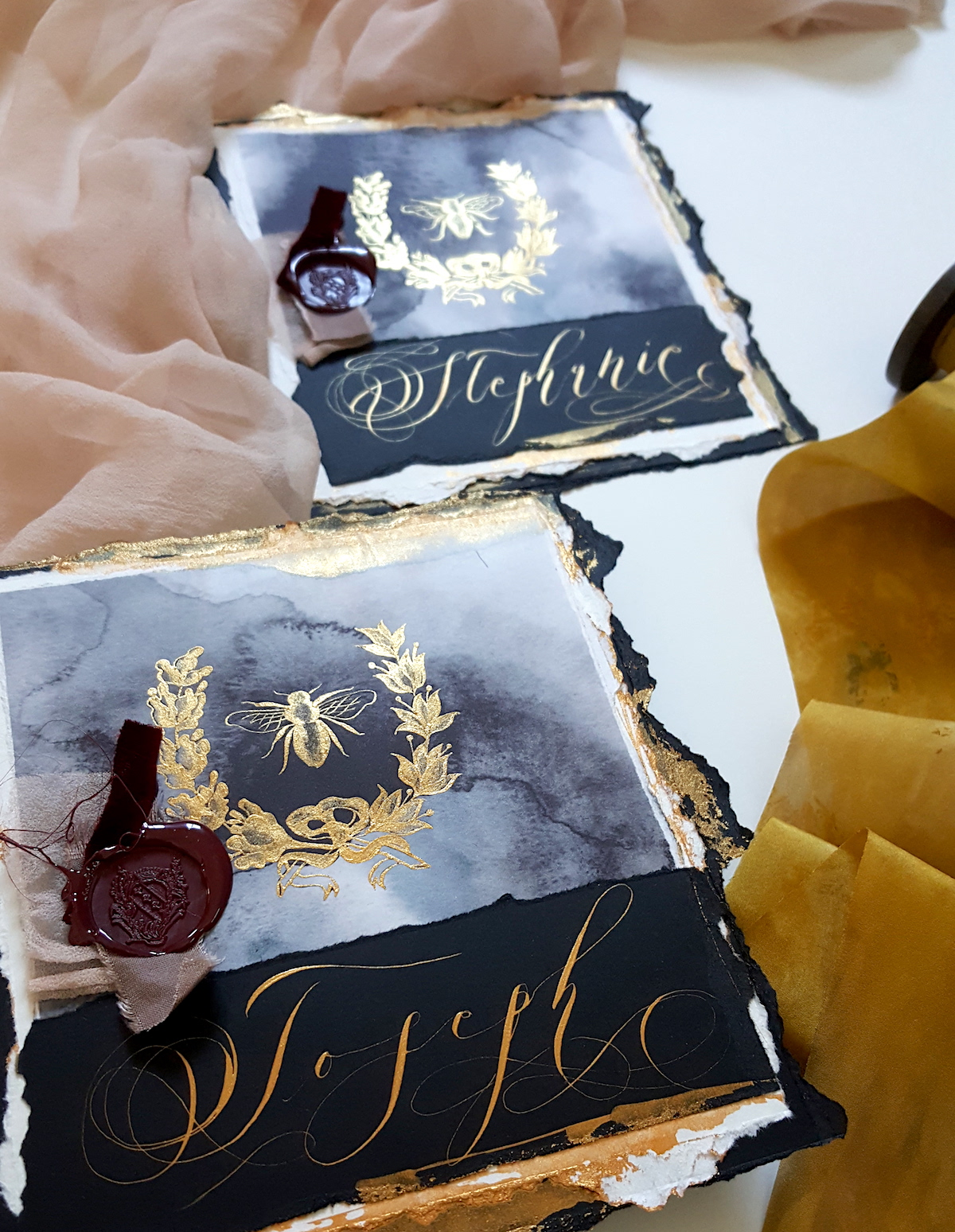 French Style Wedding Invitations - large place names