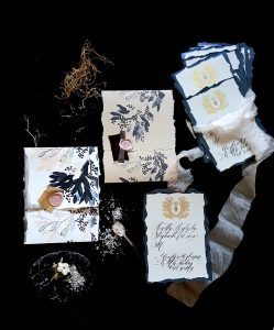 French Style Wedding Invitations RSVP hand painted envelopes