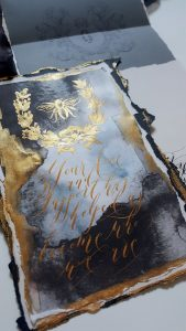 French Style Wedding Invitations antique bee design with gold calligraphy