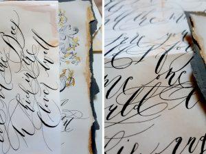 French Style Wedding Invitations dark grey calligraphy