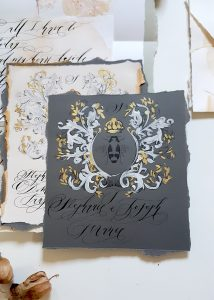 French Style Wedding Invitations dark grey with white and gold hand painted details