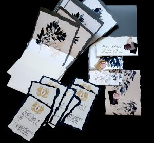 French Style Wedding Invitations envelope liner with leaves