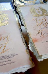 French Style Wedding Invitations gold edges