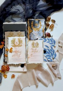 French Style Wedding Invitations hand painted details