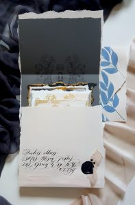 French Style Wedding Invitations large bespoke envelope with black calligraphy
