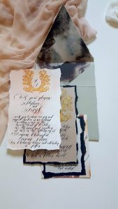 French Style Wedding Invitations pale green envelope with blush invitation