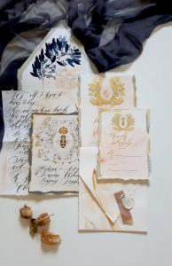 French Style Wedding Invitations with blush and cream tones