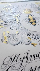 French Style Wedding Invitations with cream thick paint