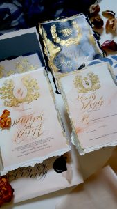 French Style Wedding Invitations with gold edges