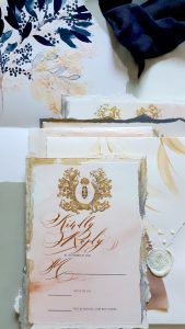 French Style Wedding Invitations with greys, creams and blush