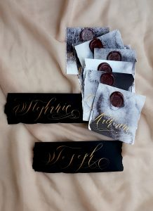 French Style wedding Invitations place names with gold calligraphy