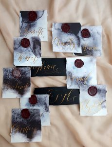 French Style wedding Invitations place names on watercolour paper