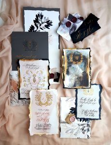 French Style Wedding Invitations whole stationery suite with black tie details
