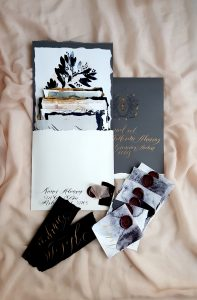 French Style wedding Invitations with dark grey envelopes with a French Antique bee design