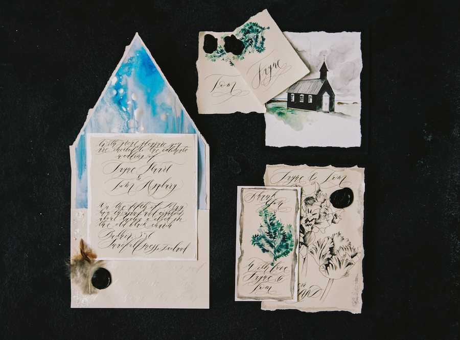 Luxury Handmade Wedding Invitations envelope and invitation copy