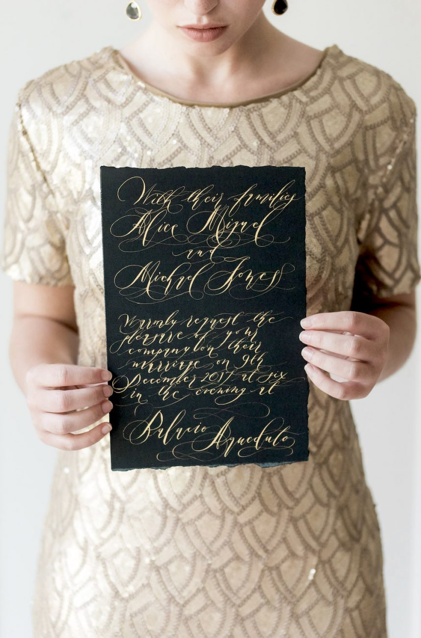 Black Tie Wedding Invitations black long card with gold calligraphy