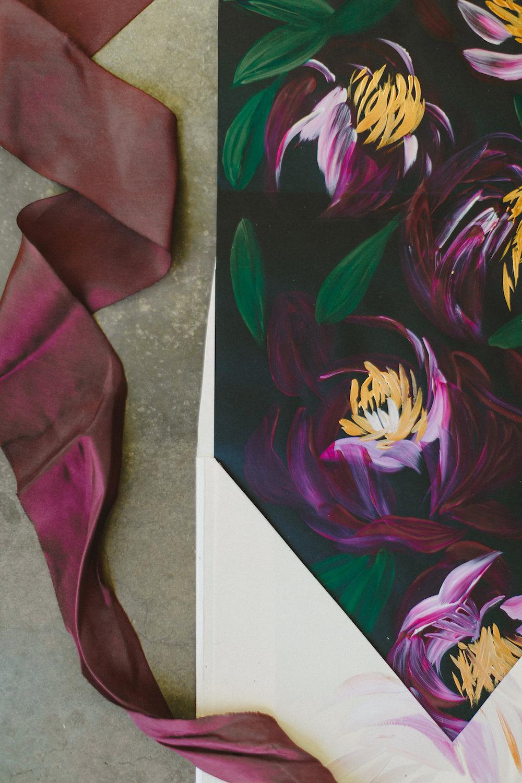 Custom Hand Painted Wedding Invitations Hand painted envelope liner