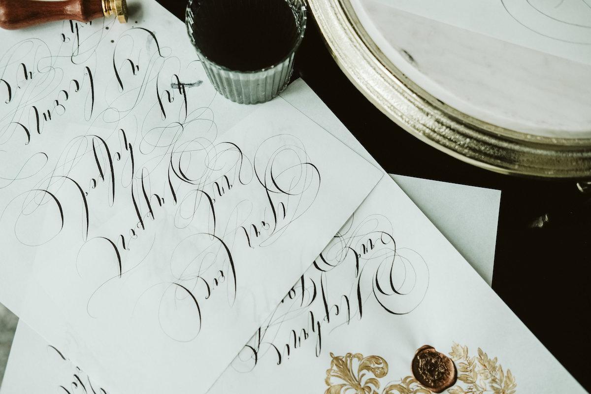 Unique & Luxury Handmade Wedding Invitations calligraphy for weddings flourishes