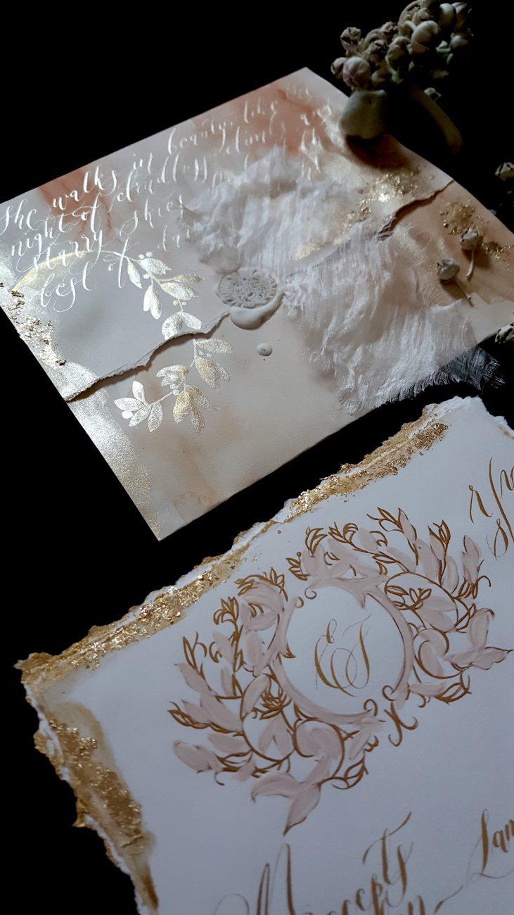 Custom Gold Foil Invitations - Tarnished Enigma