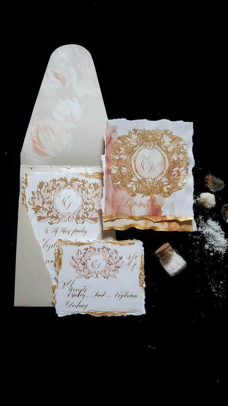 Custom Gold Foil Invitations - hand painted envelope liner