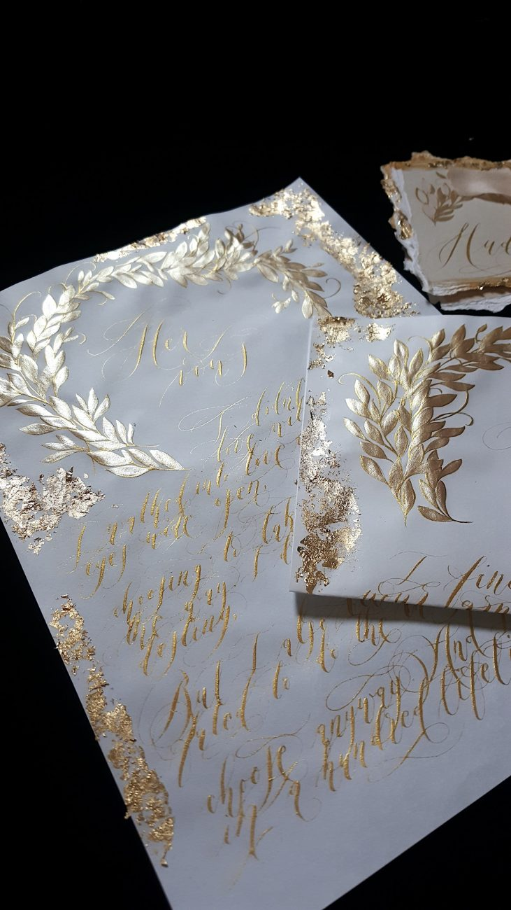 Custom Gold Foil Invitations - vows with calligraphy and gold foil