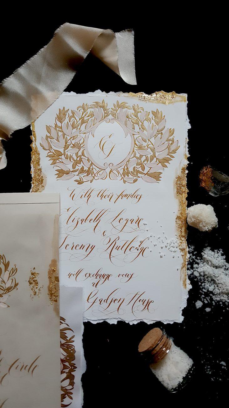 Custom Gold Foil Invitations - white and gold foil invitation