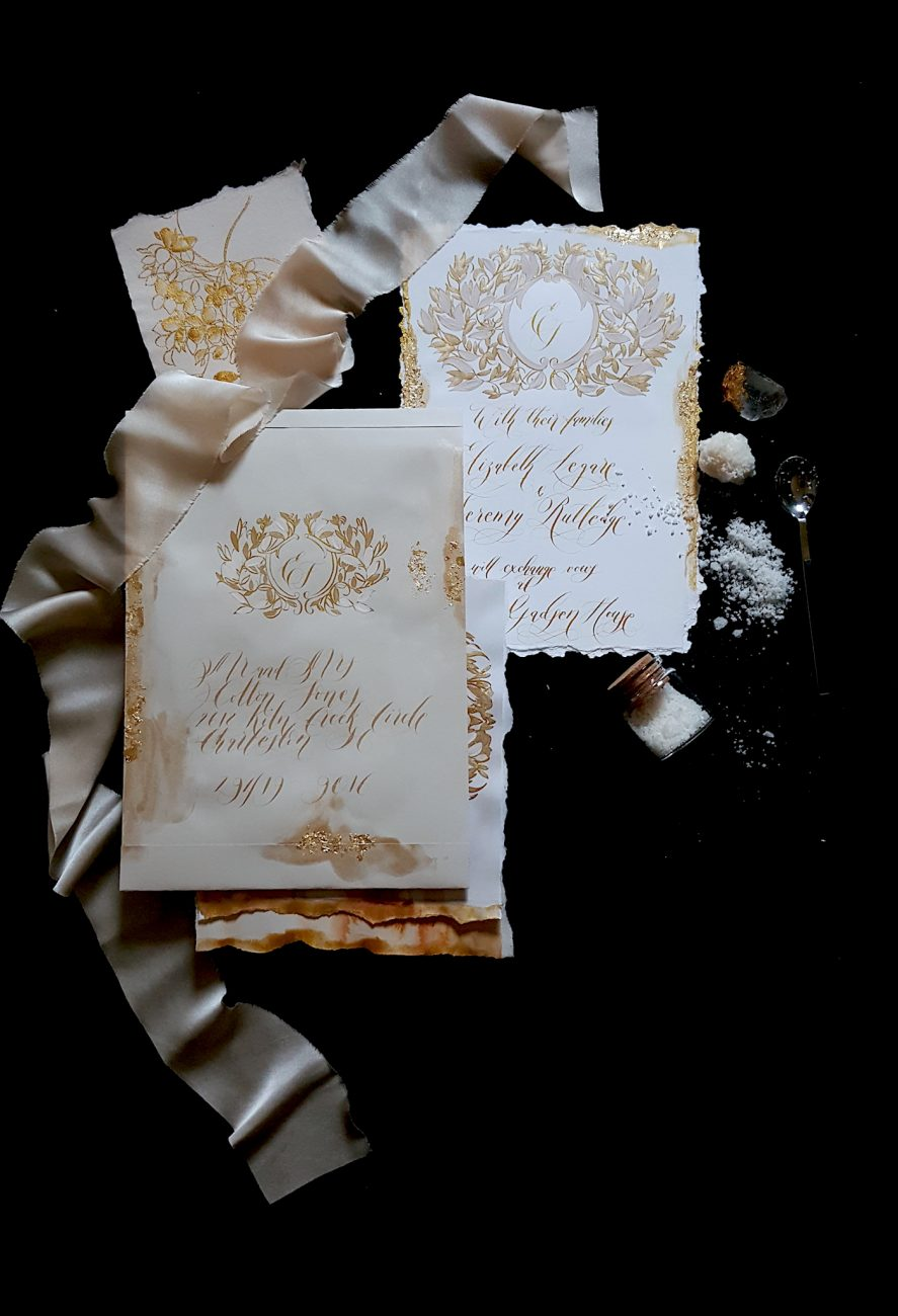 Custom Gold Foil Invitations - with hand painted white and gold wedding invitation
