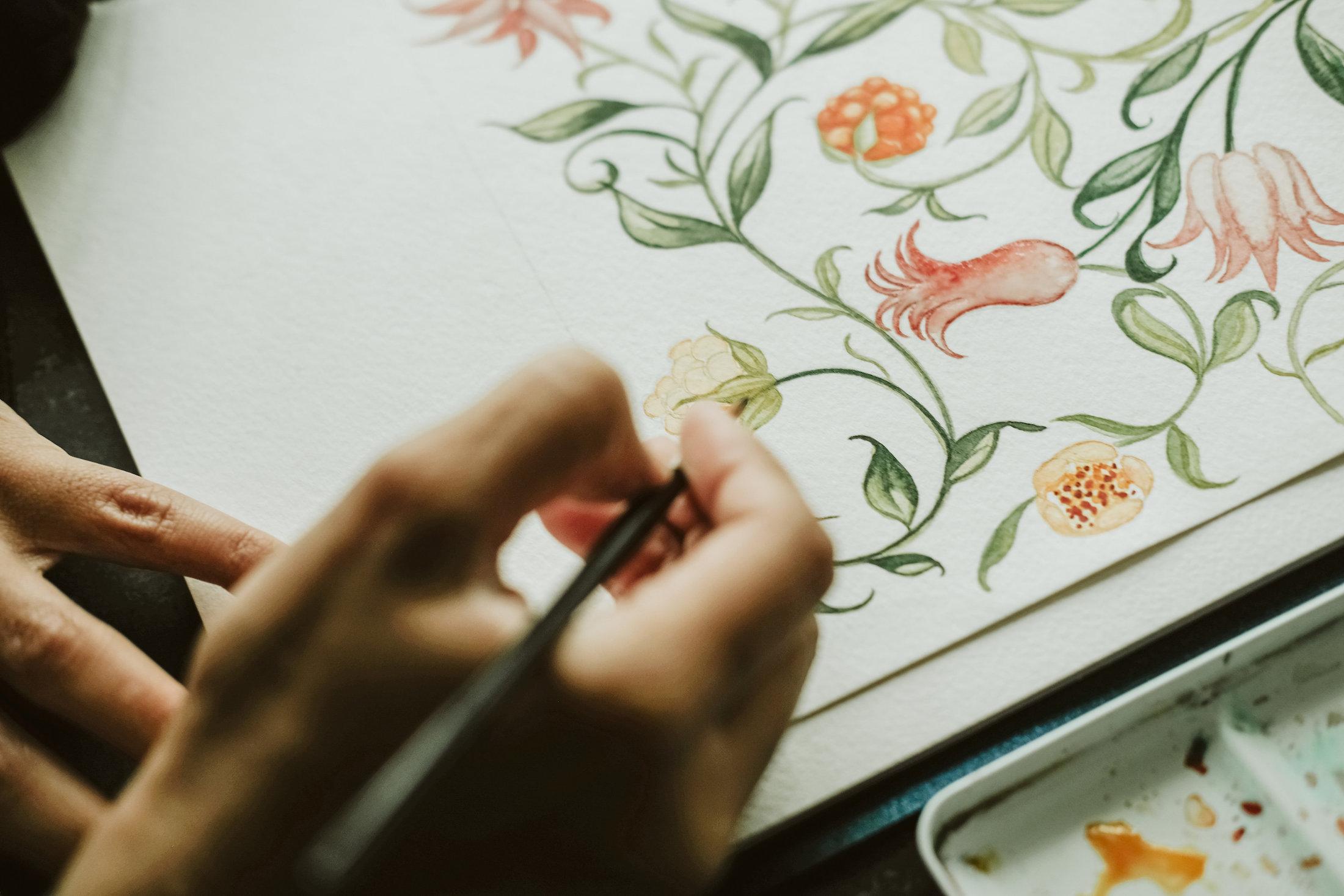 Custom Hand Painted Wedding Invitations - floral watercolour invitations