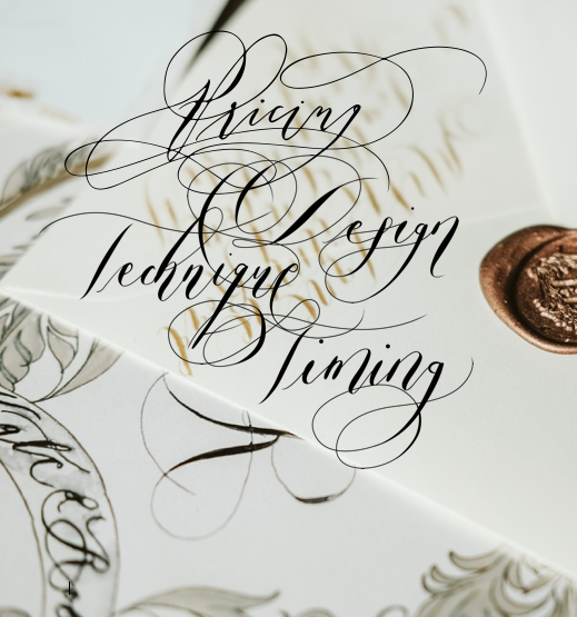 Pricing for hand painted wedding invitations calligraphy