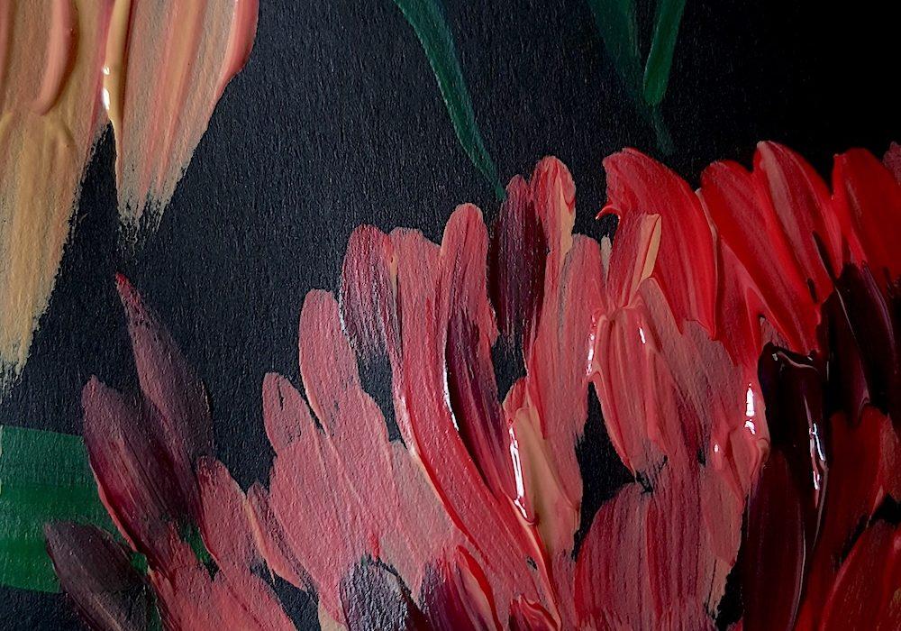 Acrylic Paint Texture Illustrator inspired by Burne Jones close up
