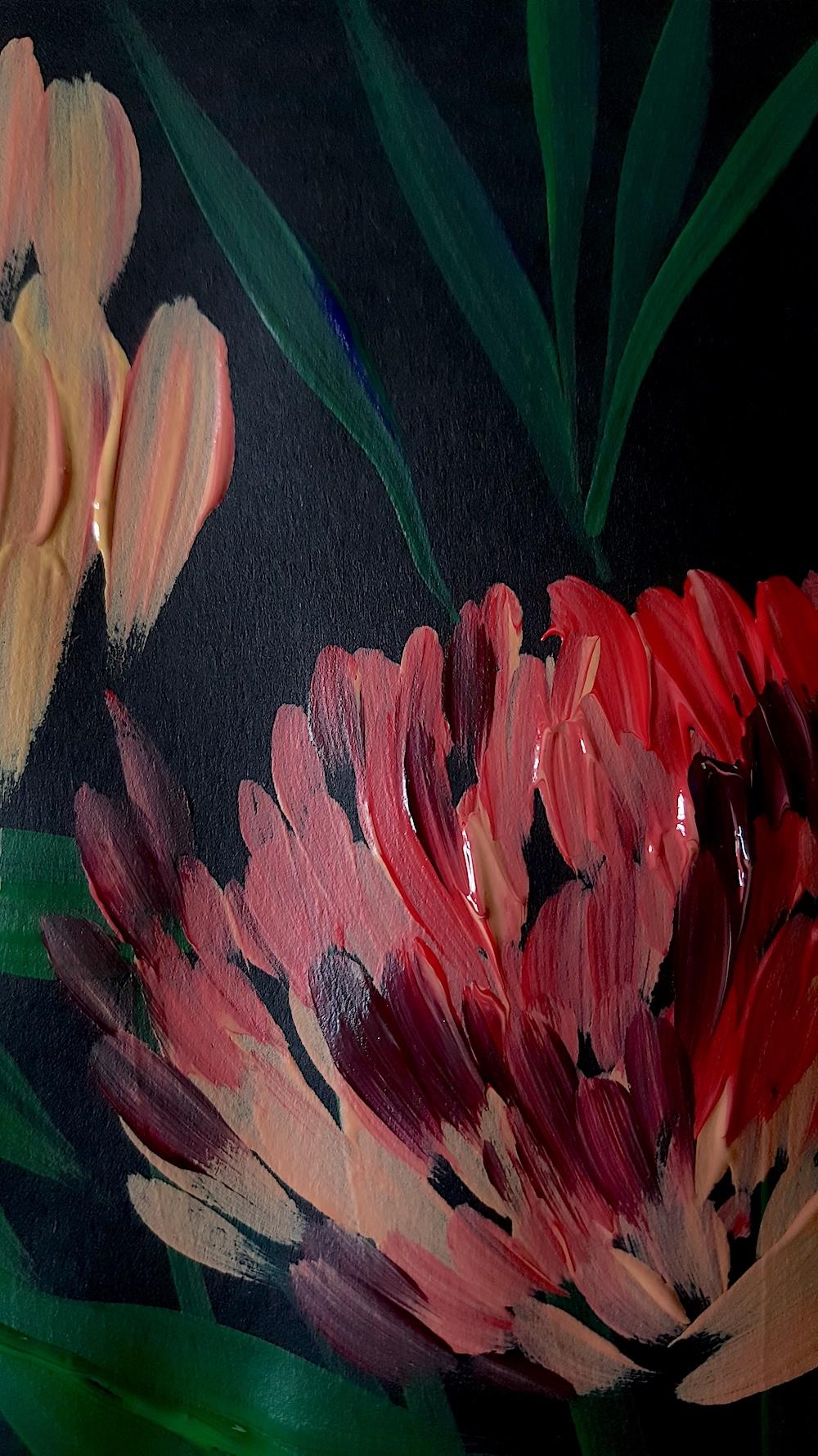 Acrylic Paintings Illustrator inspired by Burne Jones close up