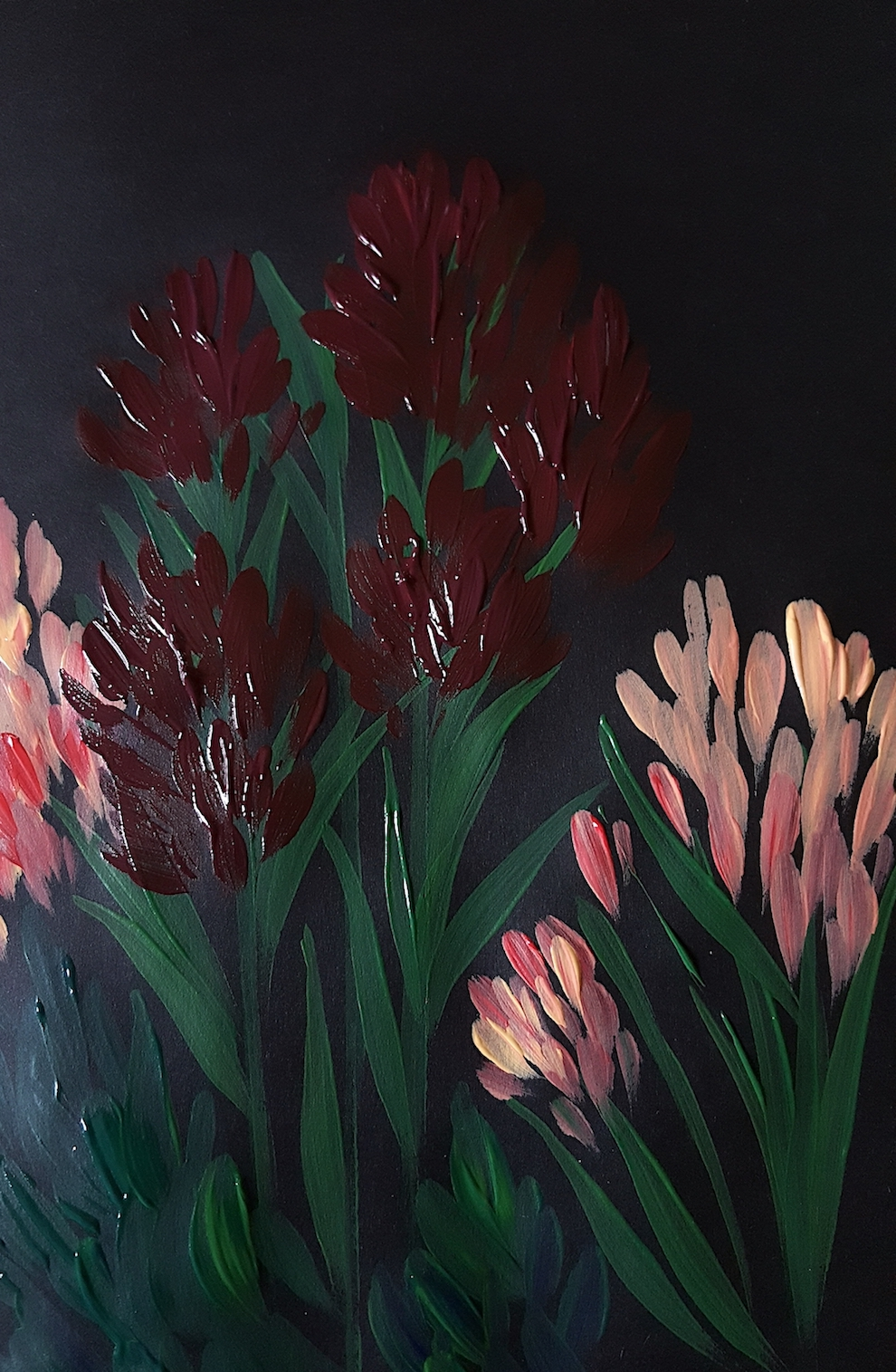 Acrylic Paintings Illustrator inspired by Burne Jones painting with claret colour
