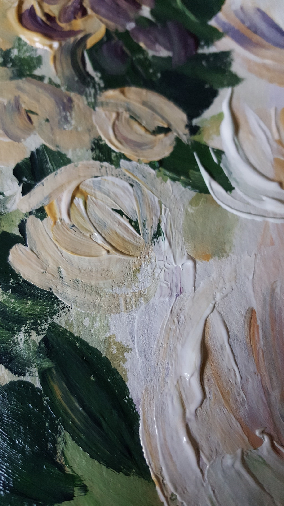 Acrylic Paintings brushstrokes texture cream floral painting