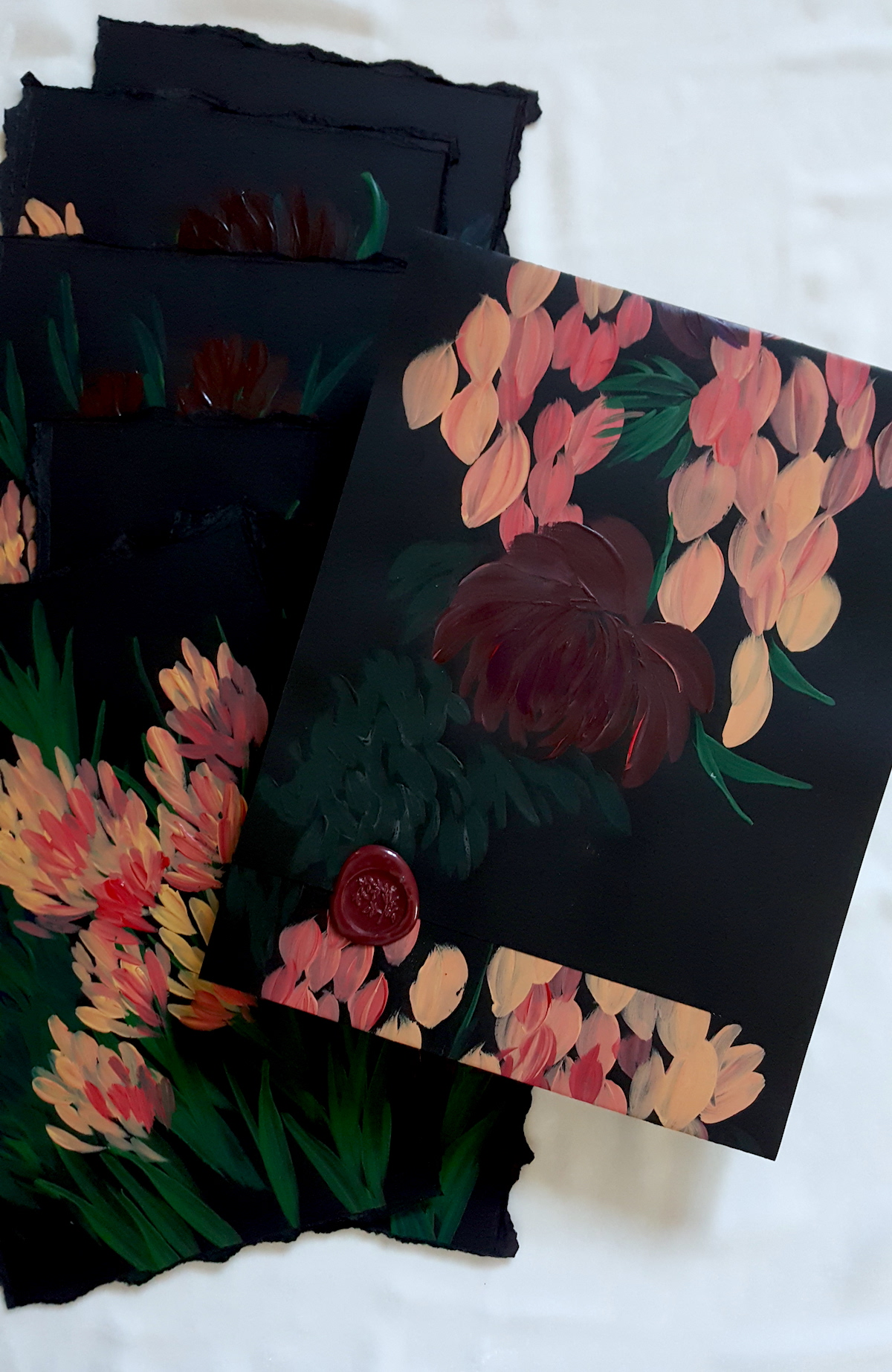 Acrylic Paintings illustration with a hand painted - hand made envelope