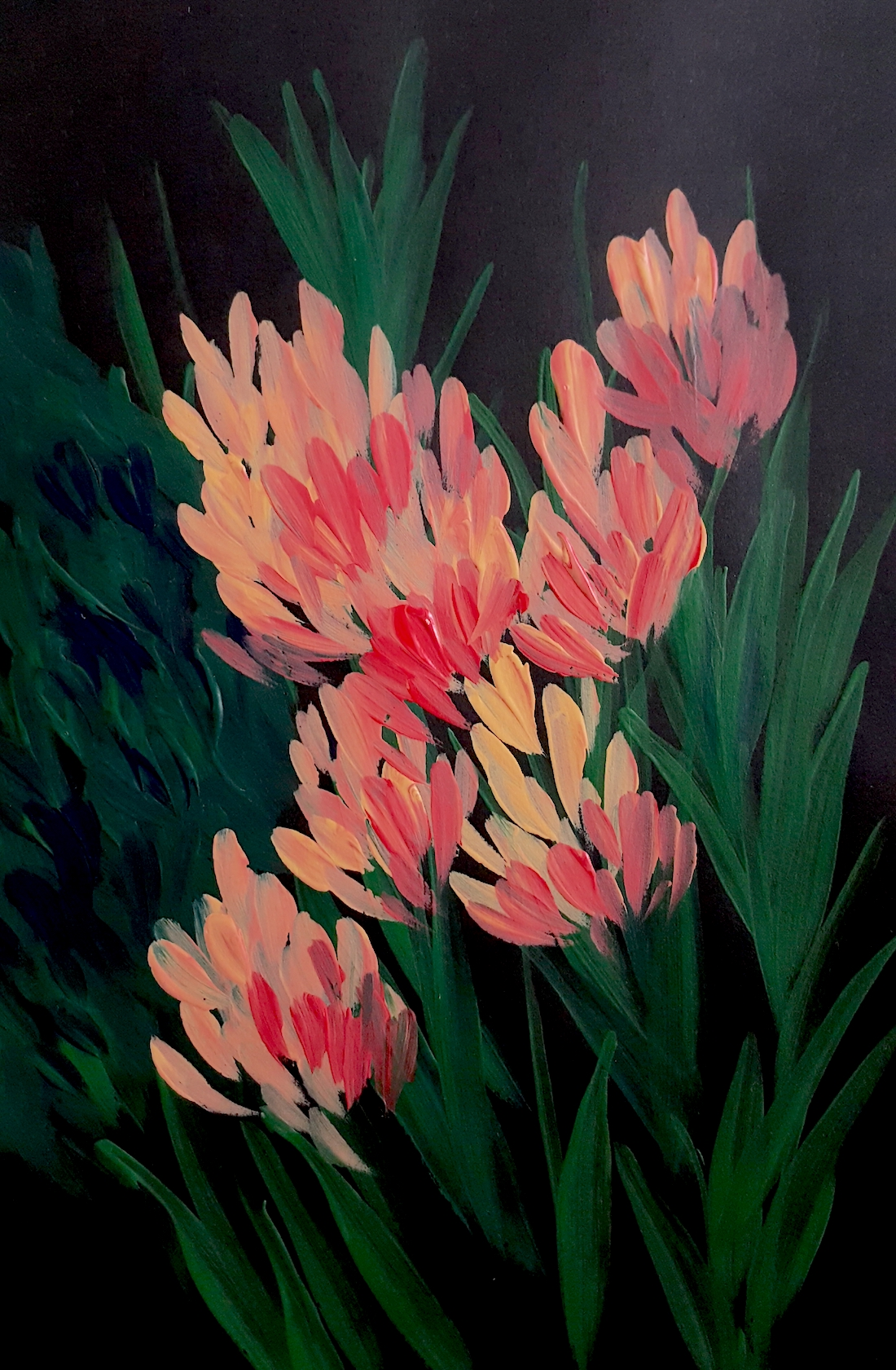 Acrylic Paintings illustration with deep green and coral flowers