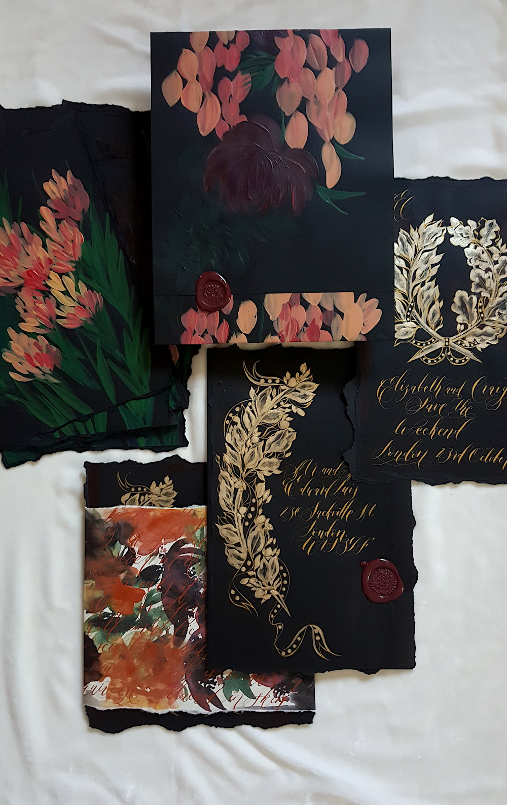 Acrylic paintings - with black and gold invitations for a luxury wedding
