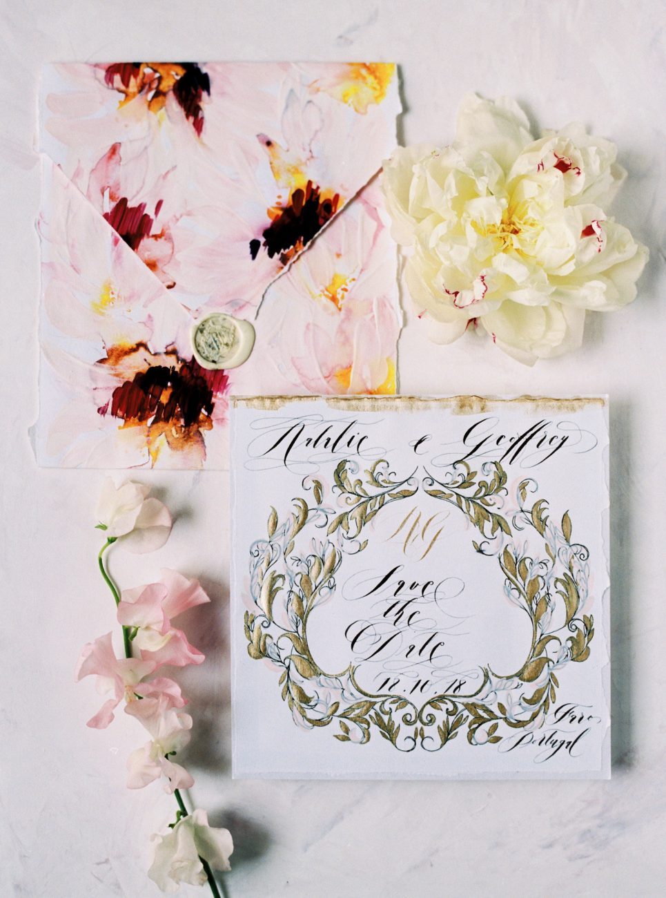 Hand painted wedding invitations suite with the save the date card and envelope