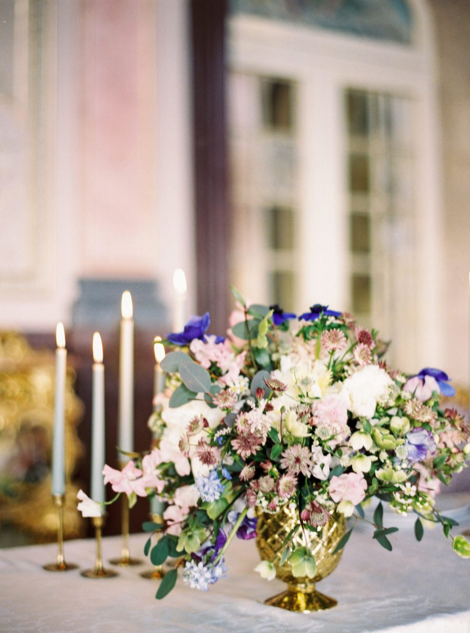 Palace Wedding Inspiration - candles and flowers