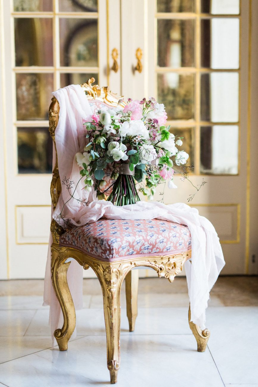 Palace Wedding Inspiration - flowers on chair