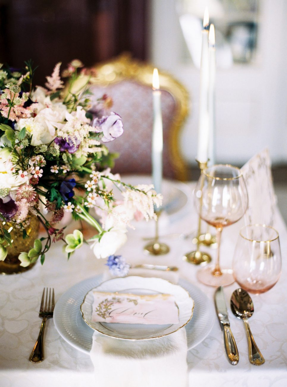Palace Wedding Inspiration - pink place name with gold hand painted designs on plate