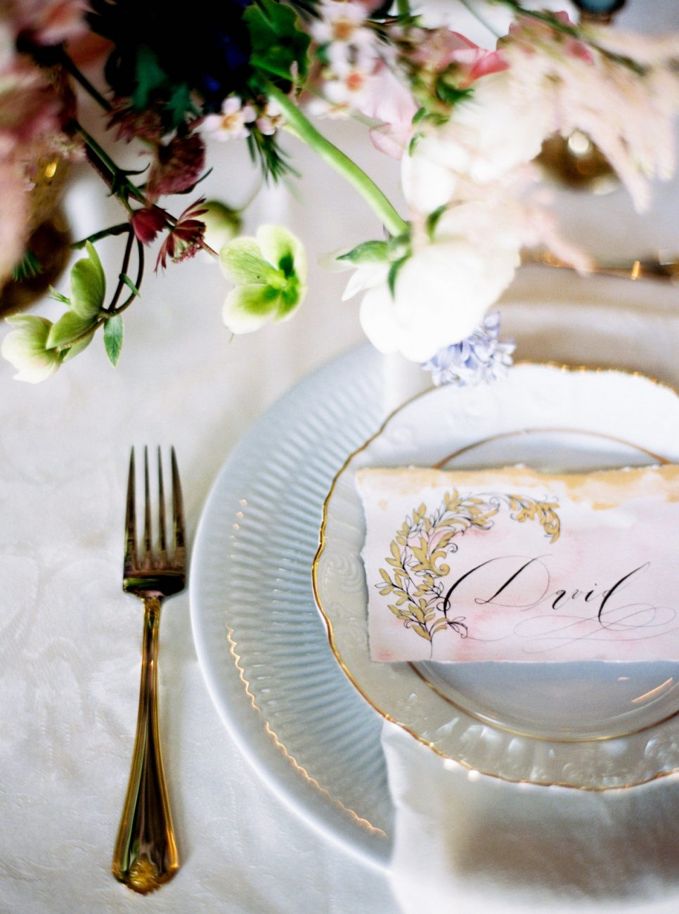 Palace Wedding Inspiration - pink place name with gold hand painted designs