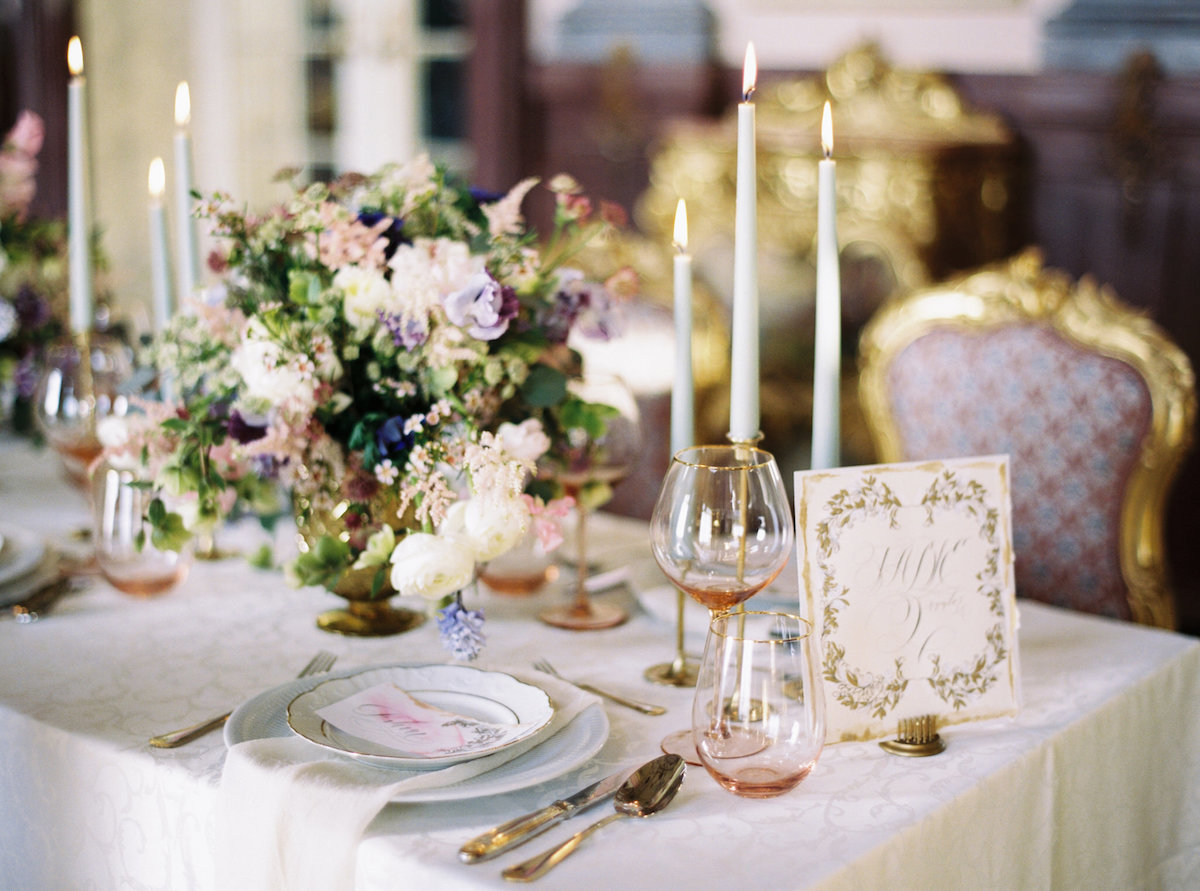 Palace Wedding Inspiration - pink place name with cream and gold table number